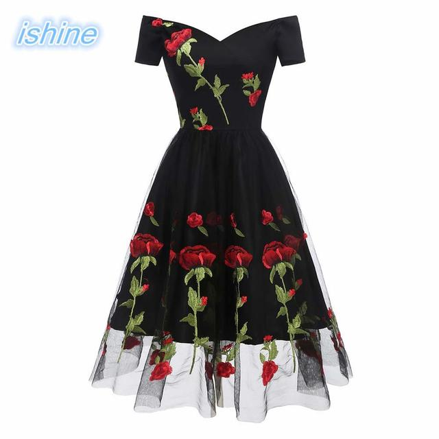 ae43f5cd414 50s 60s Hepburn Style Women Retro Party Dress Rose Embroidered V Neck Short  Sleeves Wrap High Waist Swing Mesh Dress Gown