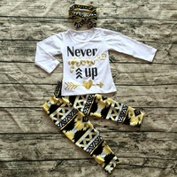 2016 new girls super cute suit hot sell arrow long sleeves clothes top baby kids wear Aztec pant sets with matching headband