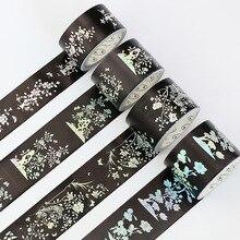 Лучшие Симпатичные Kawaii черный цветок васи ленты Бумага клейкой ленты adhestive для Скрапбукинг планировщик упаковка подарочная коробка Декоративные Канцелярские