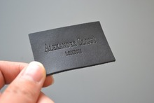 custom real leather labels for jeans, clothing, bags, engraved logo as design, lower MOQ.