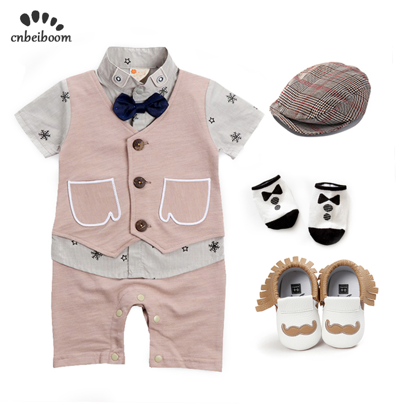 Toddler boys rompers sets high quality cotton vest jumpsuits +hat+sock+shoes clothing sets baby newborn first birthday clothesToddler boys rompers sets high quality cotton vest jumpsuits +hat+sock+shoes clothing sets baby newborn first birthday clothes