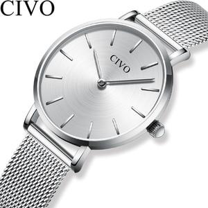 Image 1 - CIVO แฟชั่นนาฬิกาข้อมือผู้หญิงกันน้ำ Slim ตาข่ายควอตซ์นาฬิกาผู้หญิงแบบสบายๆนาฬิกา Relogio Feminino