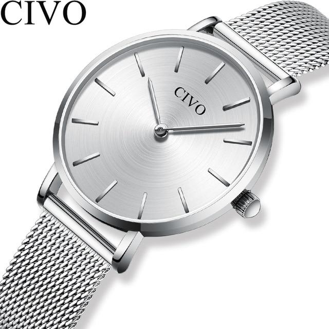 CIVO แฟชั่นนาฬิกาข้อมือผู้หญิงกันน้ำ Slim ตาข่ายควอตซ์นาฬิกาผู้หญิงแบบสบายๆนาฬิกา Relogio Feminino
