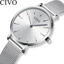 CIVO moda zegarki na rękę dla kobiet wodoodporny Slim stali nierdzewnej siateczkowy pasek zegarki kwarcowe kobiety proste zegar Relogio Feminino
