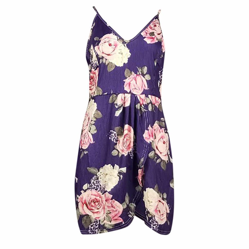 Vestidos セクシーな女性のプリントファッションレッドディープ V ネックノースリーブローブフェムセクシー ete 2019 花スリムフィット印刷パーティードレス