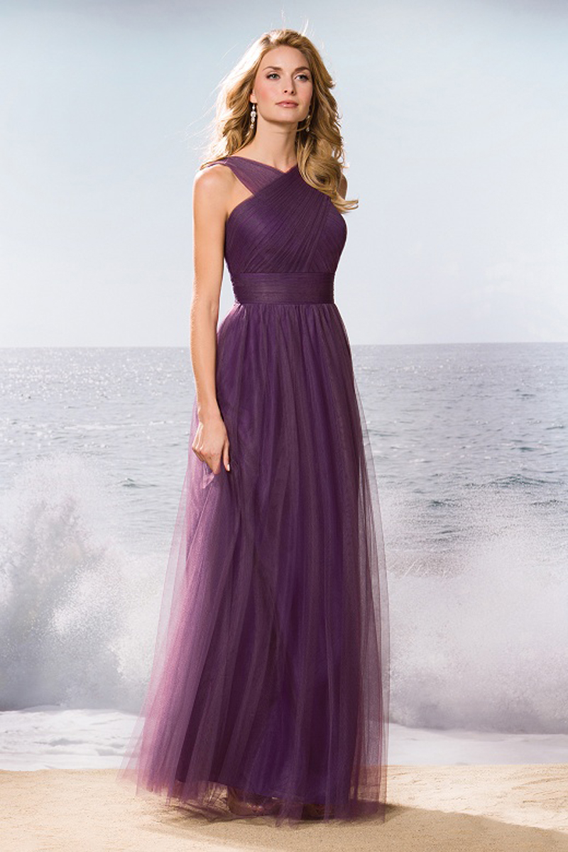 Long Bridesmaid dress purple Formal Party Gown front Criss Cross ...