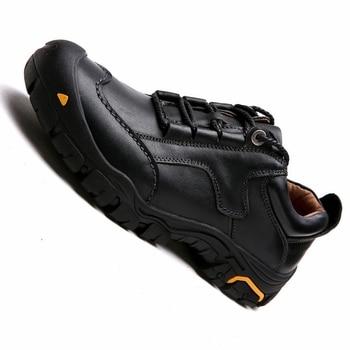 Zapatos al aire libre de cuero genuino de la parte superior baja de la marca de los hombres zapatos antideslizantes de senderismo de caza zapatos deportivos transpirables zapatillas de senderismo los hombres