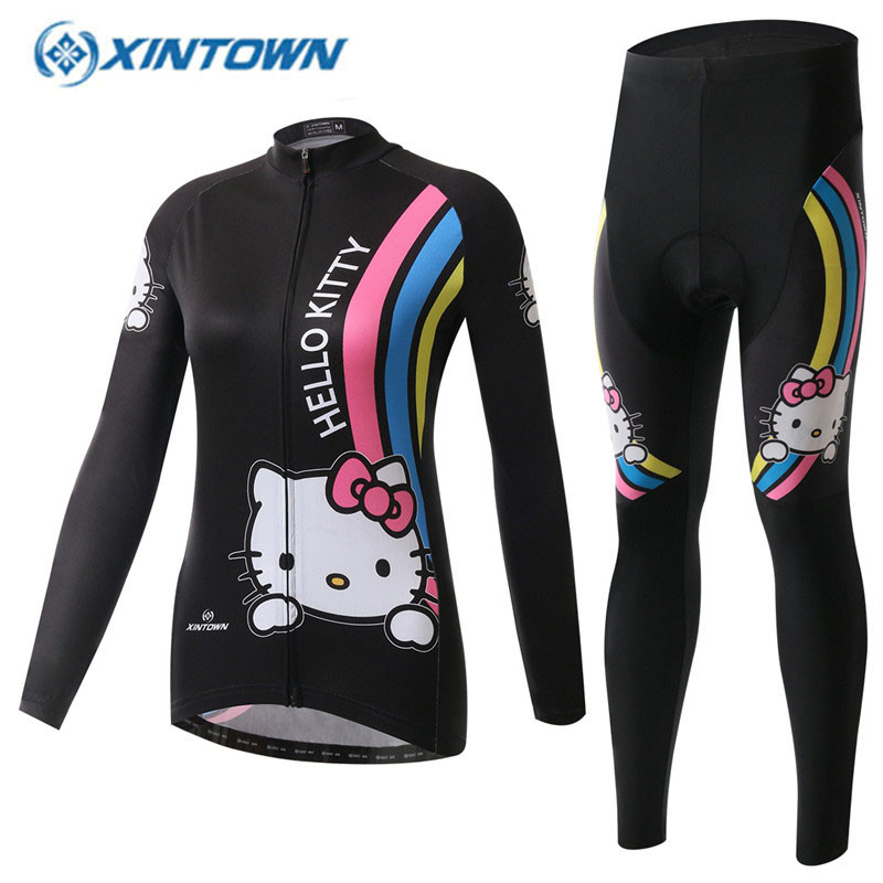 2017 Cycling Jersey Hello Kitty Winter Thermal Fleece Women Long Sleeve Bicycle Cycling Clothing Bike Sports Wear Ropa Ciclismo black thermal fleece cycling clothing winter fleece long adequate quality cycling jersey bicycle clothing cc5081