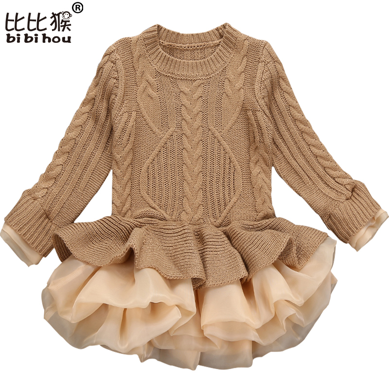 Korea Lace Knitted Sweaters Warm Dresses Winter Baby Wear Clothes Girls Clothing Sets Children Dress Child Clothing Kids Costume