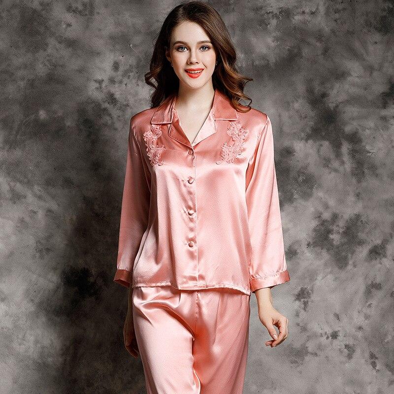 B7731 Wholesale Women spring and autumn Sleepwear Two-piece Leisure Wear Luxurious Noble Female 100% Silk Pajamas Sets