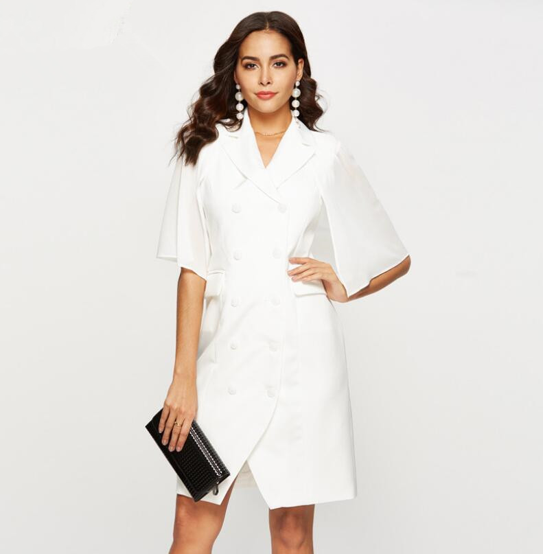 2019 New Fashion Office Lady Work Wear White Personality Suit Type Dress Female's Black White Clothes Dress Vestido SP 012