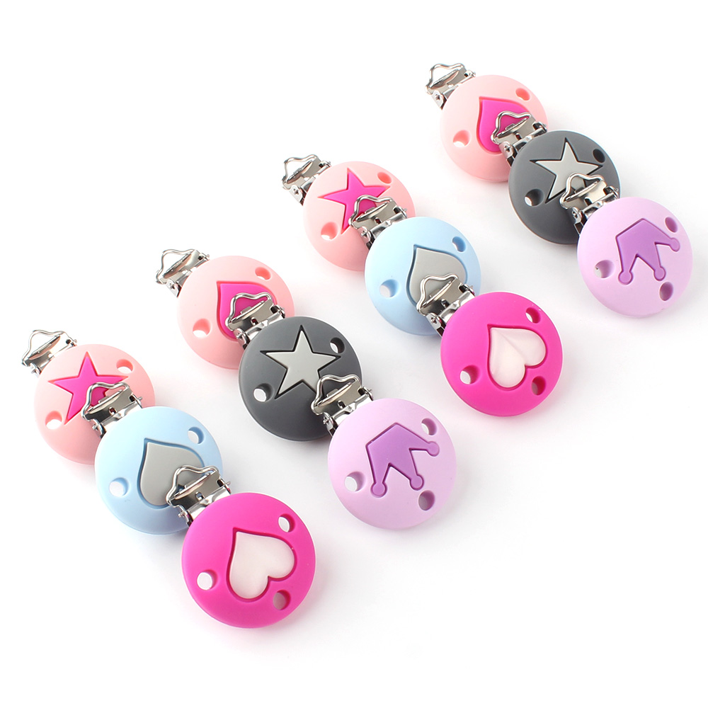 KEEP&GROW 60Pcs Pacifier Chain Clip Round Star Crown Heart Pattern Silicone Seads Clips Nipple Soother Holder Baby Feeding Toys