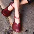 Original Spring 2017 New Retro Big Toe Shallow Mouth Genuine Leather Buckle Comfortable Flat Shoes Women Shoes FL131-8