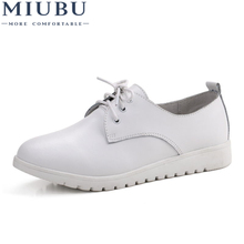 MIUBU Woman Genuine Leather Flat Loafers Spring Platform Shoes Breathable Fashion Lace Up Leisure