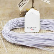 Scallop brown/white kids birthday gift products tag paper price tag 500pcs+500 elastic string for handmade products tagging tag