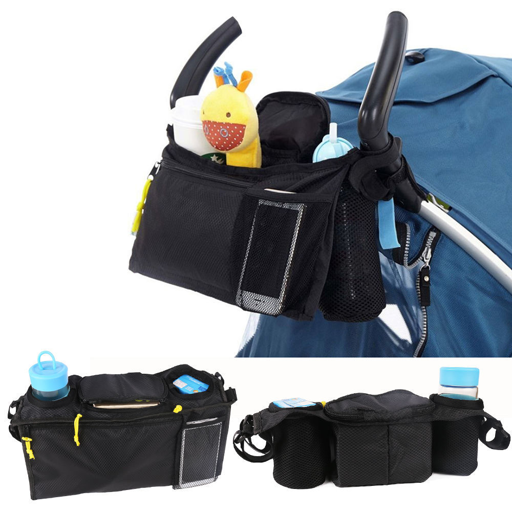 Black Nappy Bags Baby trolley hanging bag hook bag umbrella Water cup and toys bag YYT324