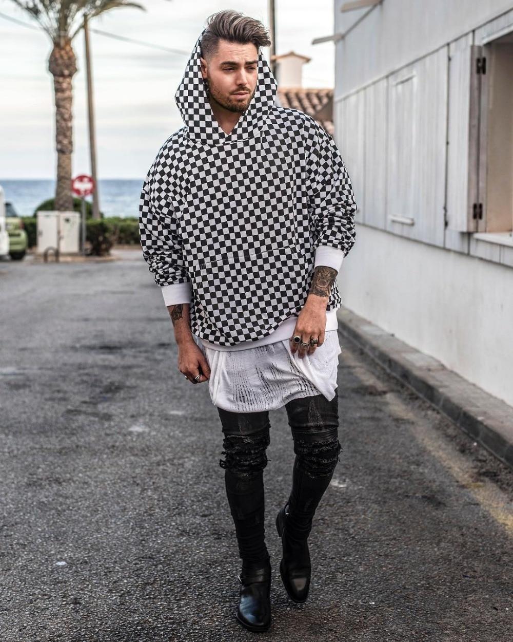 Streetwear Men Black And White Checker Hoodie In Hoodies Sweatshirts From Men 39 S Clothing