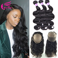 2/3pcs Brazilian Virgin Hair With Frontal Closure Bundles 360 22*4*2 Lace Front Natural Hairline Human Hair Bundles With Frontal