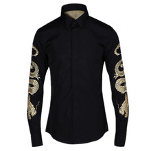 Luxury Men Shirt Fashion Golden Dragon Embroidery Long Sleeve Slim Fit Male Shirts Plus Large Size 4XL Mens Casual Dress Shirts