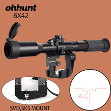 ohhunt SVD POS 6X42 Hunting Riflescope Red Glass Etched Reticle Tactical Optics Sights for Rifle SKS Tigr Ak 2 Style Rail Mount цена в Москве и Питере