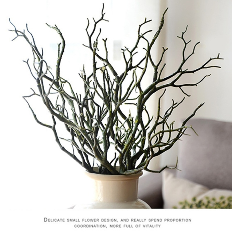 3pcs Dry Artificial Manzanita Fake Foliage Plant Tree Branch Wedding Home Church Office Furniture Green White 36cm
