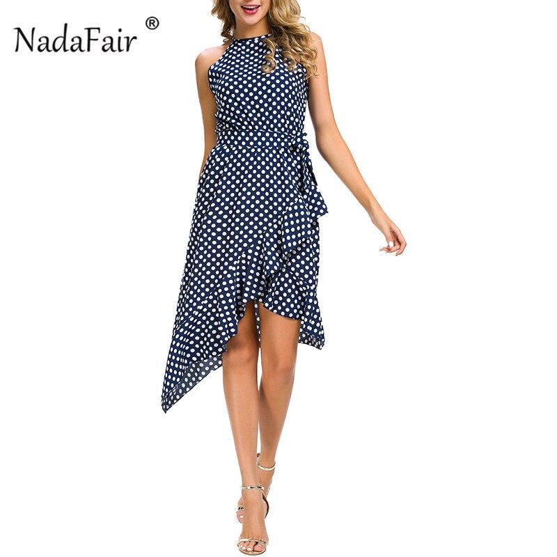 Nadafair plus size sleeveless ruffles polka dot summer dress