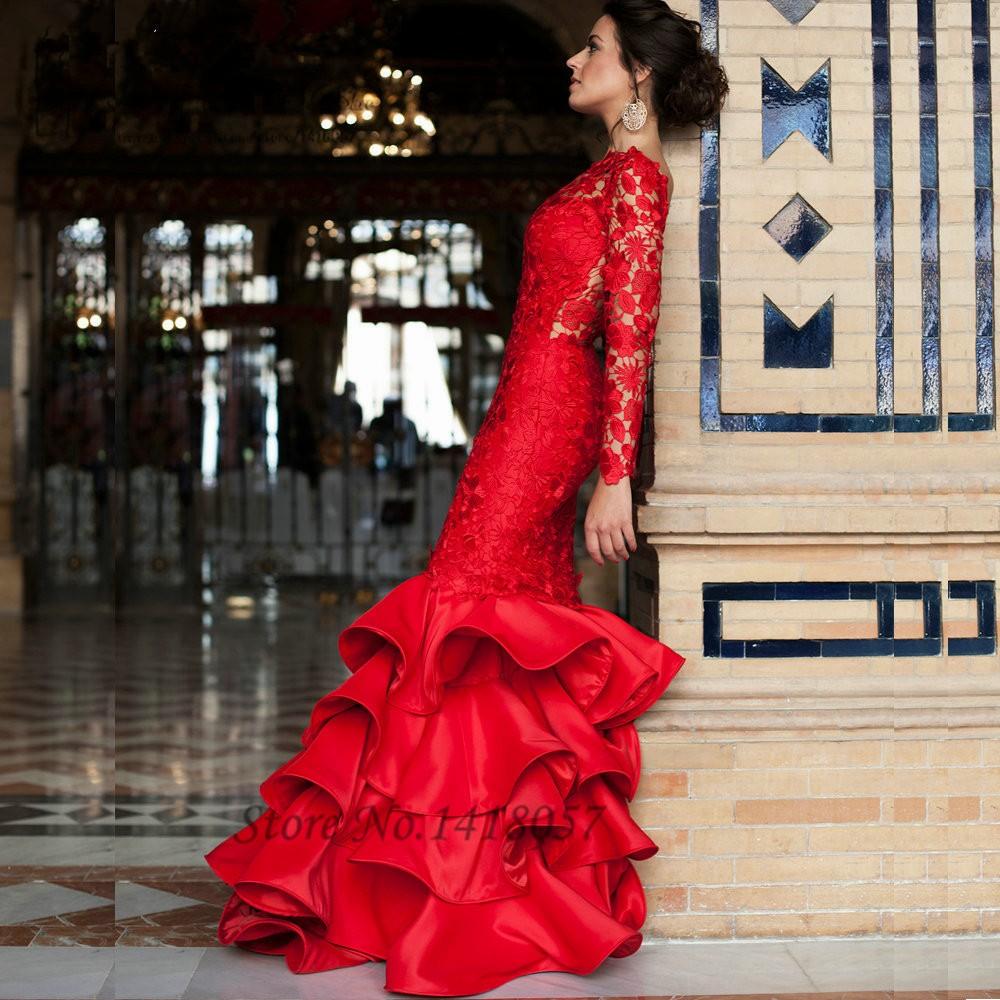 Elegant Lace Mermaid Evening Dress Red Long Sleeve Prom Dresses ...