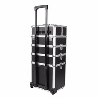 5 in 1 Trolley Hairdressing Makeup Beauty Nail Case Art Box Cosmetics Suitcase With Wheels