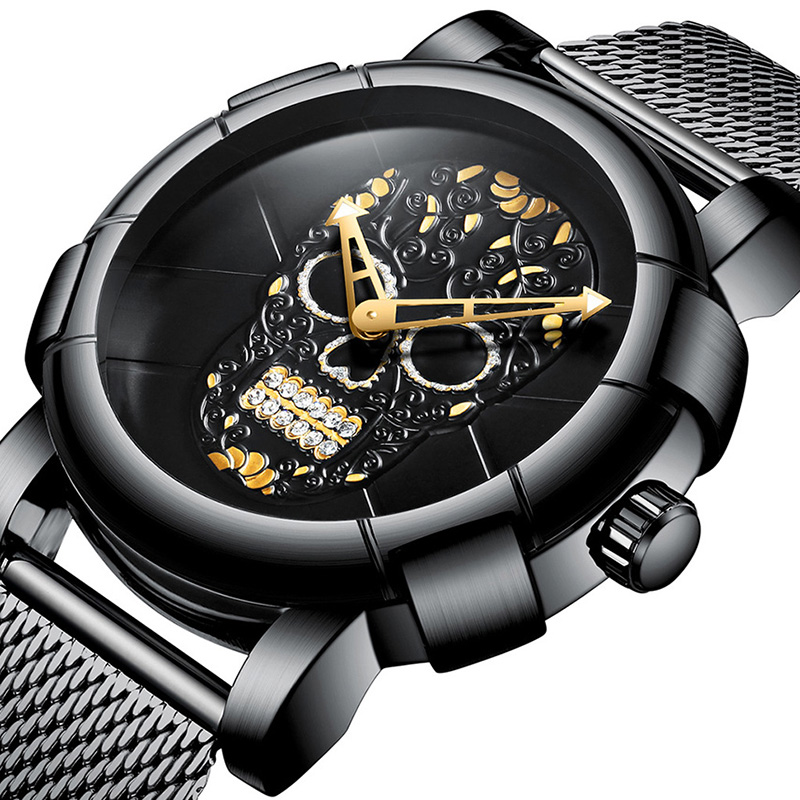 Cool 3D Skull Watch Men Watches Top Brand Luxury Fashion Creative Steel Mesh Clock Male Gold Black Wrist Watch relogio masculino цены