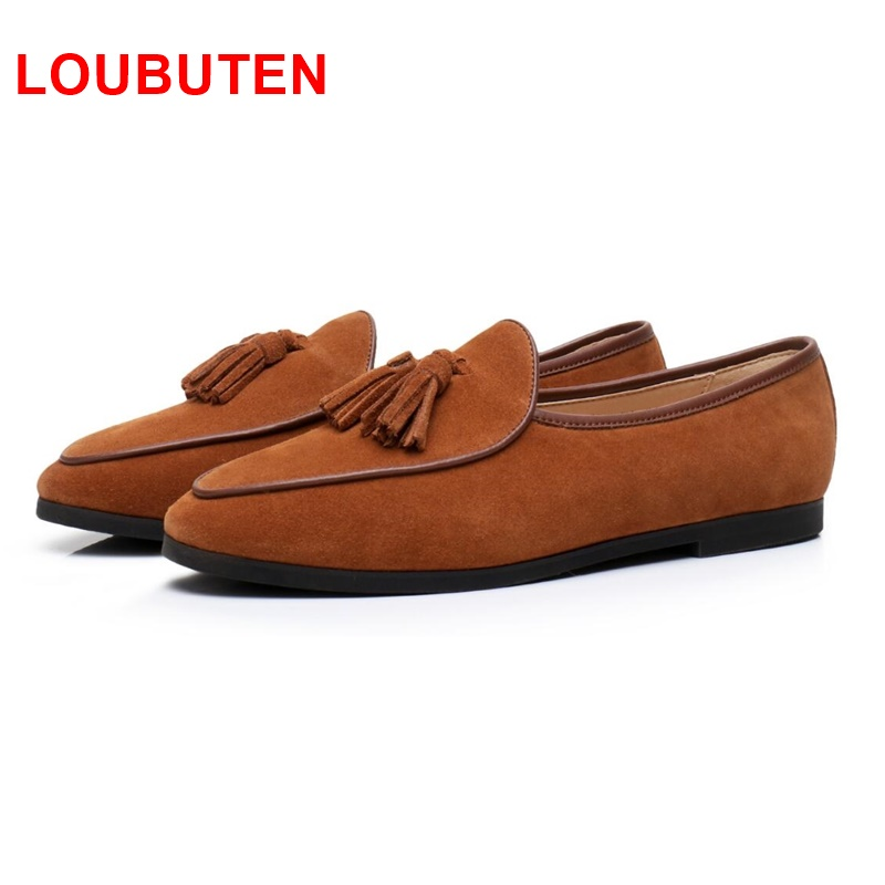 LOUBUTEN New Fashion Suede Men Loafers Slip On Tassel Loafer Shoes Luxurious Driving Shoes Men's Flats Leather Men Casual Shoes jiabaisi fashion casual design leather loafer comfort men s shoes jsb170314002