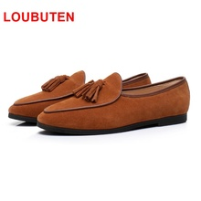 LOUBUTEN New Fashion Suede Men Loafers Slip On Tassel Loafer Shoes Luxurious Driving Shoes Men's Flats Leather Men Casual Shoes loubuten loafers men slip on suede leather shoes mens loafers with bow knot luxury dress shoes fashion men s smoking flats