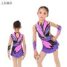 Женский костюм для художественной гимнастики, многоцветное платье для художественной гимнастики, блестящие стразы, фиолетовый и розовый цвета