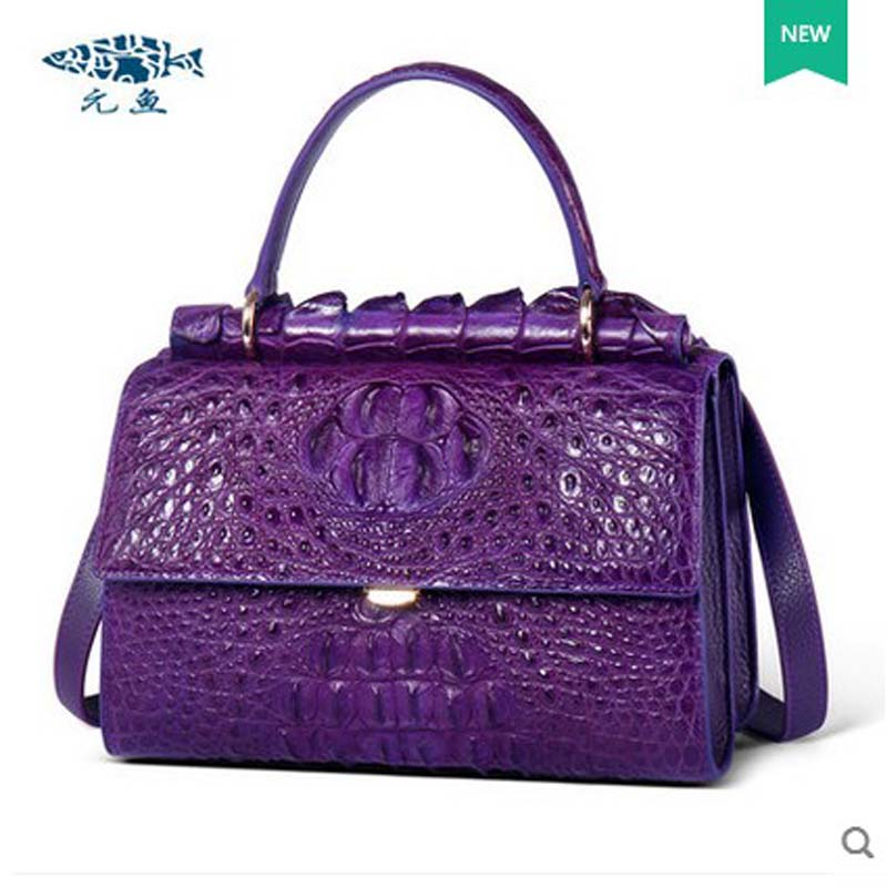 yuanyu 2018 New alligator skin bag crocodile leather Thai alligator women handbag  single shoulder high-end female bag yuanyu real snake skin women bag new decorative pattern women chain bag fashion inclined single shoulder women bag