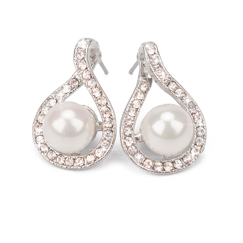 ZI.SEN Fashion White Pearl Stud Earrings Silver Color Earring Personality Bijoux Femme Pendientes Rhinestone Engagement Jewelry