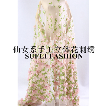 Quality Handmade 130CM Pink Three-dimensional Floral Green Leaves Embroidery Net Lace Wedding Evening Dress fabric S261