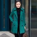 Invierno de la manera mujeres de la marca de gamuza de alta calidad doble de pecho chaqueta larga elegante Cazadora abrigos FY-88-158