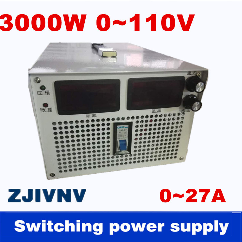 3000 W 0-110 v 0-27A courant De Sortie et tension à la fois réglable alimentation à découpage AC-DC Pour l'industrie, led lumière, laboratoire test