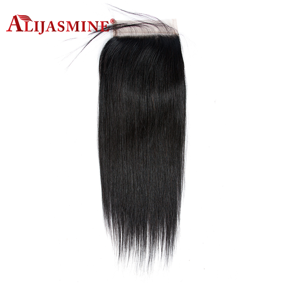 Alijasmine Hair Pre Plucked Hairline Brazilian Straight Human Hair 5x5 Lace Closure Bleached Knots Remy Human