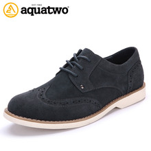 Hot Sale 2016 New AQUA TWO Suede Leather Shoes Men Brogue Styel Oxford Men's Shoes US5.5-10.5# Zapatos Hombre Casual Shoes Brand