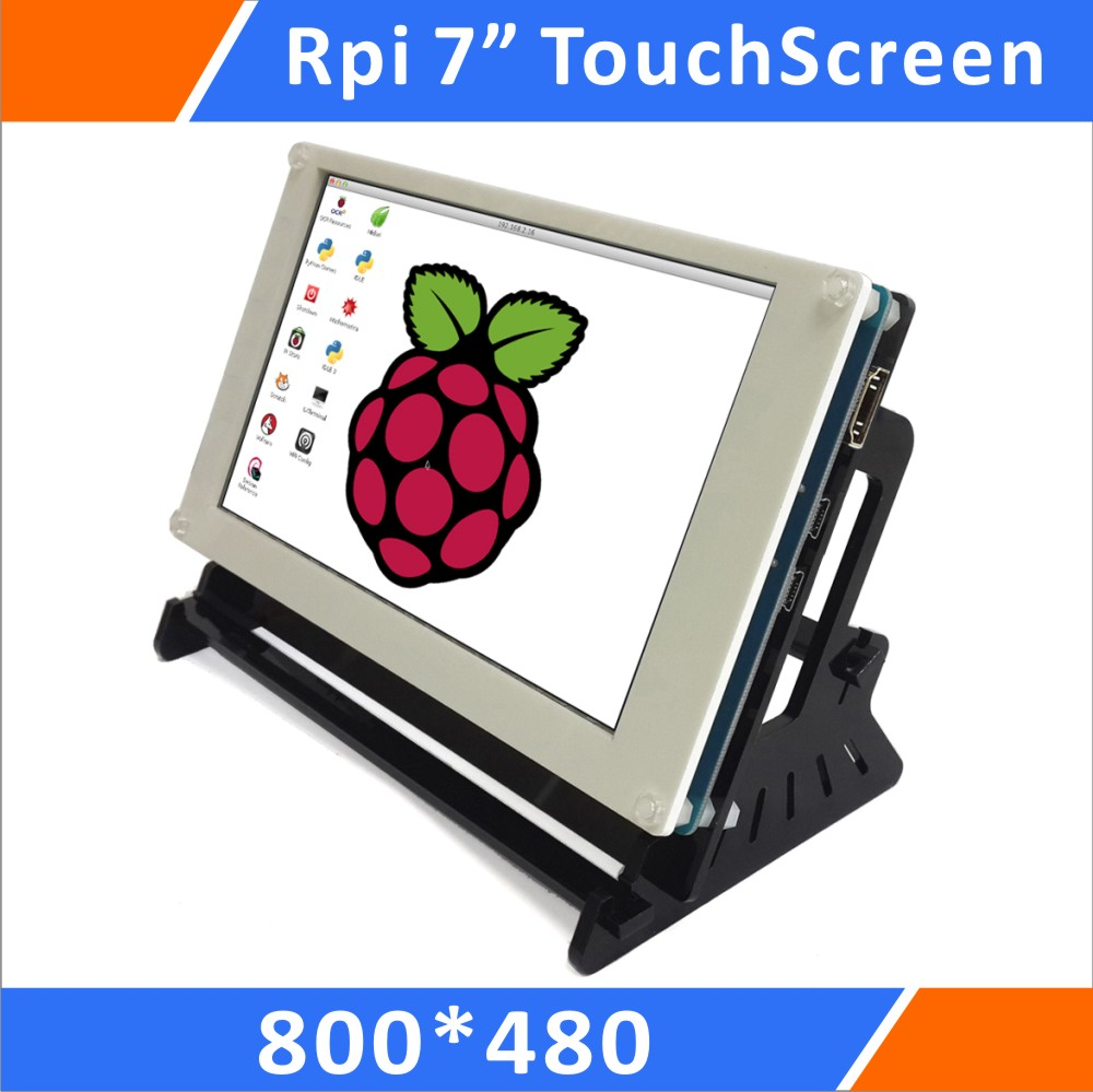 Raspberry Pi 7 Pouce 800x480 Pixel IPS Hdmi Entrée Capacitif Écran Tactile Affichage Lcd avec Cas