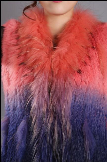 Gland 2017 1 Automne Mode Femmes Vestes Dames 2 3 Gilet Naturel Style Tricoté Laveur Lapin Raton Col Réel Tricotés Fourrure Hiver De 4 7xaq70wZRr