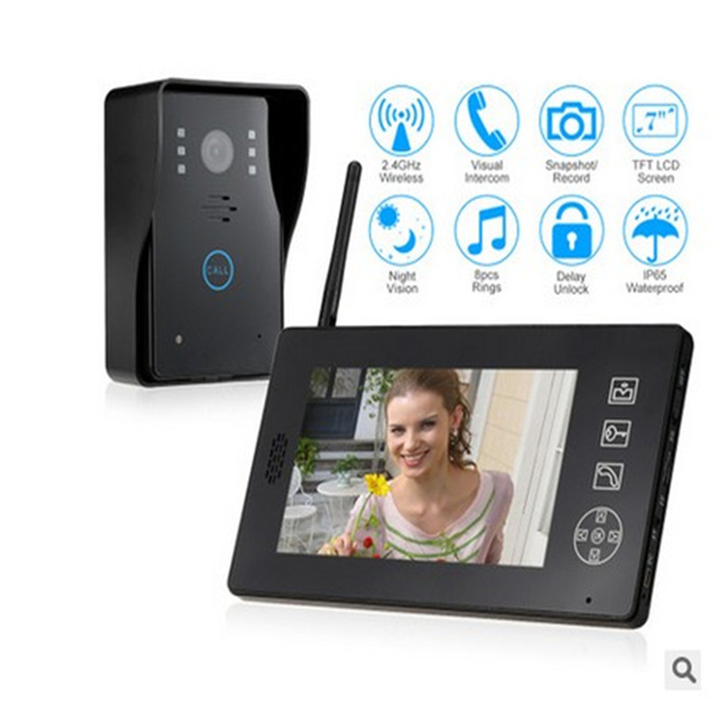 New 7 inch Wireless Video Door Phone Doorbell Intercom System Home Security Camera Door Intercom Doorphone Access Control System 7 inch password id card video door phone home access control system wired video intercome door bell