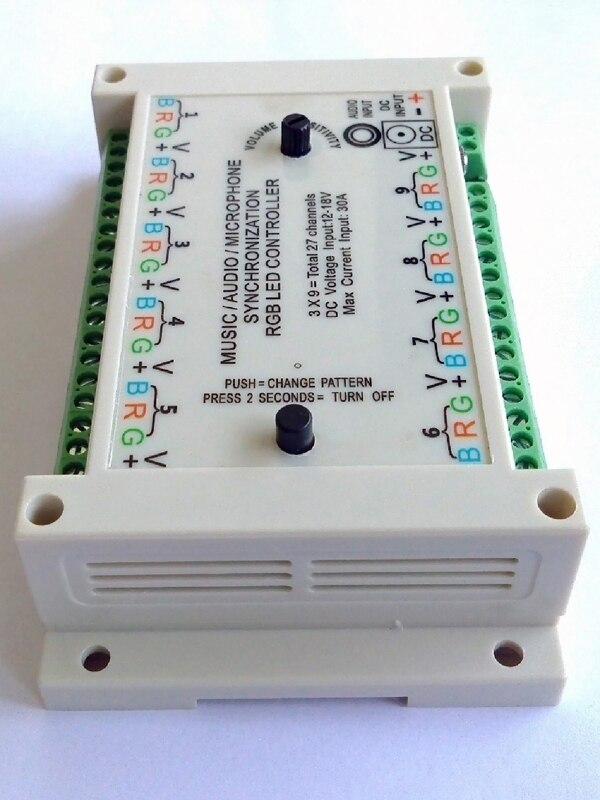 Контроллер синхронизации музыки, звук активный, звук к свету, активация звука, 3*9 групп = 27 каналов, 12 В постоянного тока для обычных анодных с... - 5