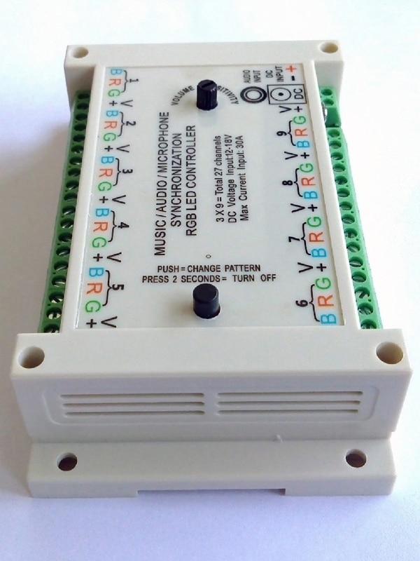 Muziek Sync controller, geluid actief, geluid om licht, audio activeren, 3*9 groepen = 27 kanalen, DC 12 V voor gemeenschappelijke anode armaturen. - 5