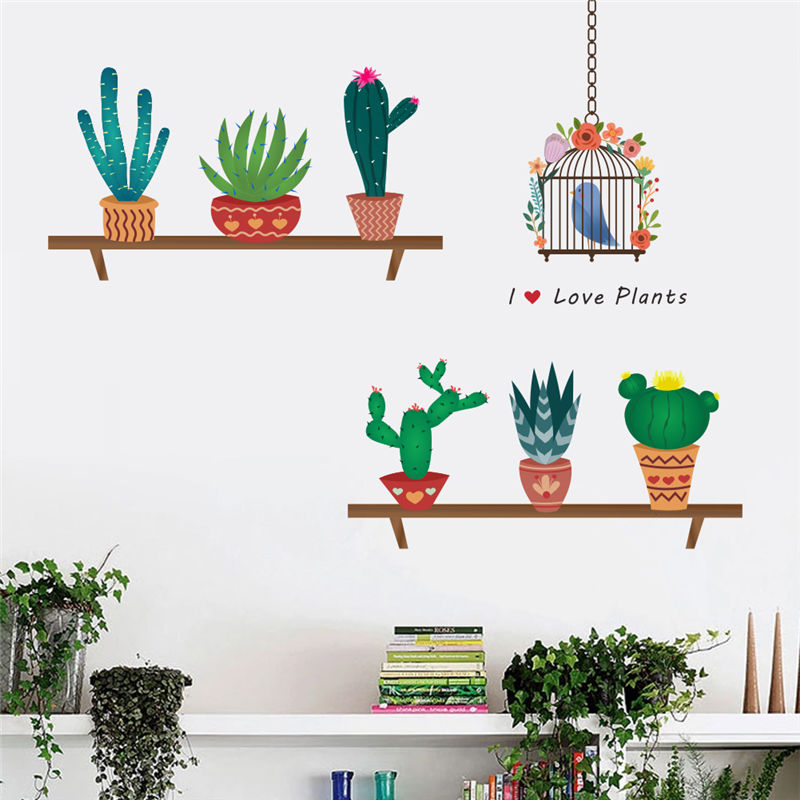 Creative Bonsai Cactus Wall Stickers Livingroom ...