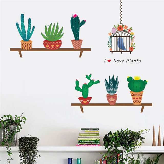 Creative Bonsai Cactus Wall Stickers Livingroom Decorations Kids ...
