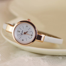 Hot Sales Popular Ladies 2015 Rhinestone Faux Leather Super Thin Strap Quartz Analog Dress Wrist Watch NO181 5V54(China)