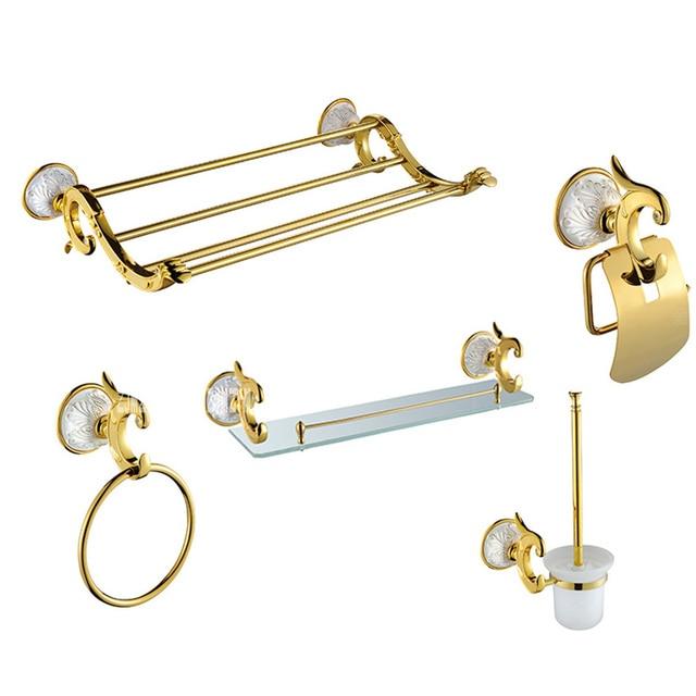 Luxury Antique Gold Bathroom Hardware Hanger Set Towel Bar Hook Soap Paper Holder Brush Bathroom 5 Pieces Combination of Package