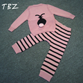 Fashion Children's Sets 2016 Bobo Style Rabbit Kids Suits Sweaters + knitting Stripe Pants Autumn Baby Boys Girls Clothing Sets