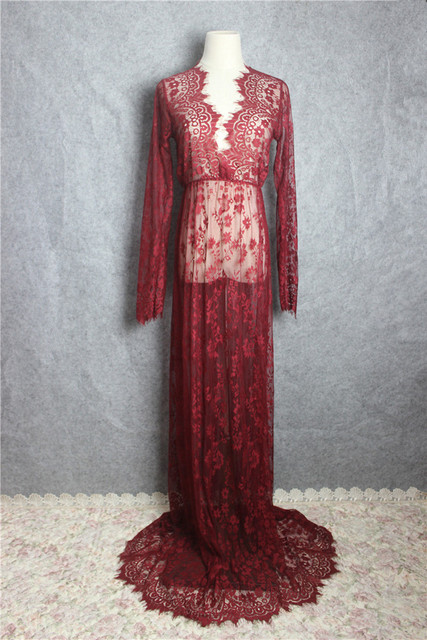 Maternity Photography – Long Sleeve V-Neck Lace See-through Maternity Gown
